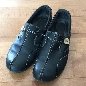 Black Leather Clark Loafers